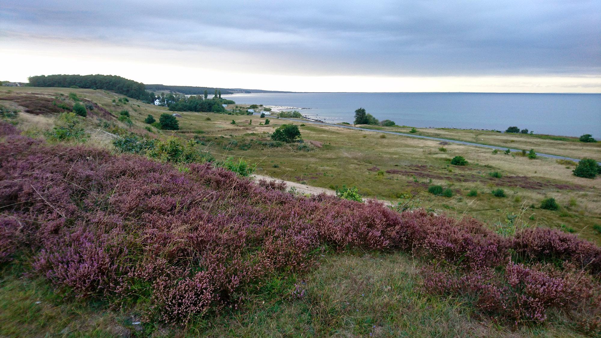 Panoramavy över Hanöbukten i skymningen.